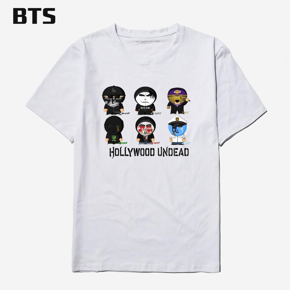 BTS Hollywood Undead Hommes T-shirt Occasionnel D'o-Cou À Manches Courtes Conception Drôle de Bande Dessinée Hommes T-shirt De Luxe Marque Coton T-shirts Pour Couple
