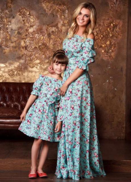 1e81b4beac603 US $14.98 |NEW Family Matching Look Outfits Mother Daughter Dress Plus Size  3XS 3XL Ruffles Off Shoulder Floral Print Summer Autumn Dresses-in Dresses  ...