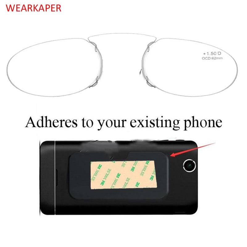 WEARKAPER Pince Nez Style Nose Resting Pinching Portable Pince-Nez Reading Glasses No Arm Men Women 1.50 2.00 2.5