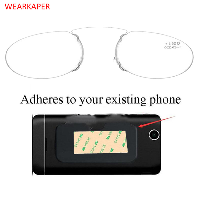 WEARKAPER Pince Nez Style Nose Resting Pinching Portable Thin Pince-Nez Optical Reading Glasses No Arm Men Women 1.50 2.00 2.5