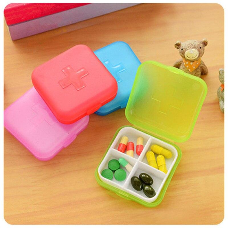 portable 4 grids pill box organizer drug and tablet medicine storage holder splitter case
