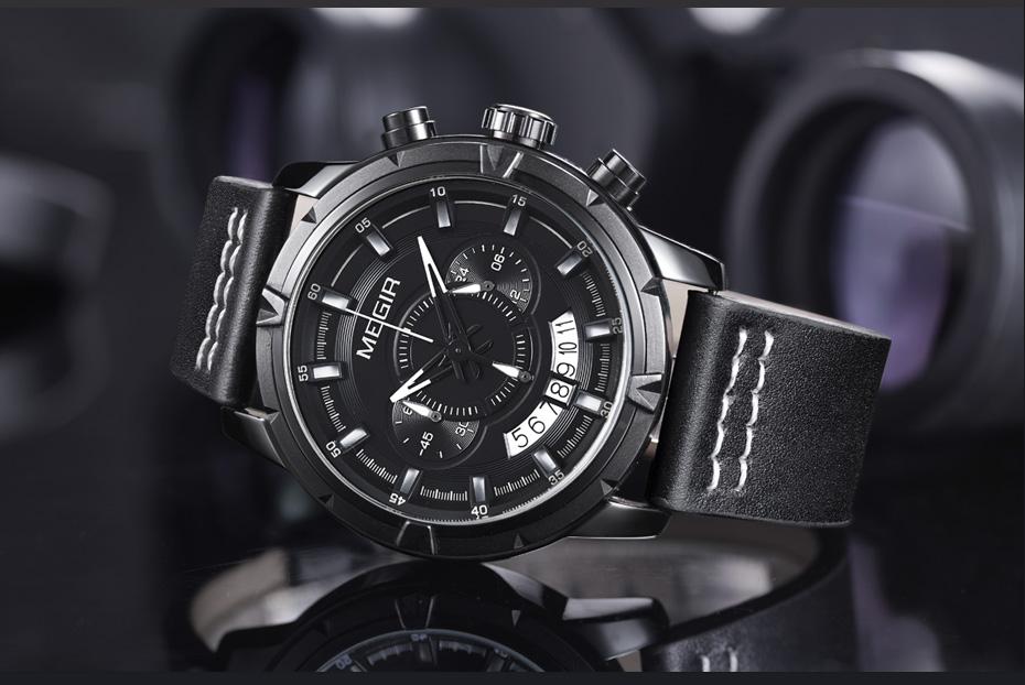 мужские часы лучший бренд Megir Мужские спортивные военные часы мужские водостойкие кожаные кварцевые часы аналоговые мужские часы Relogio мужчина для