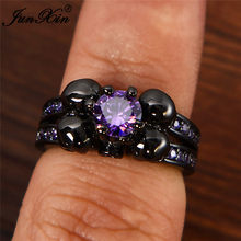 Punk Women Purple Skull Ring Retro Vintage Black Gold Finger Ring Vintage Party Wedding Rings Feburary Birstone Jewelry Gifts(China)