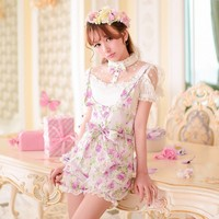 Princess Sweet Lolita Shorts Candy Rain Summer New Japanese Style Sweet Bow Floral Tall Waist Straps