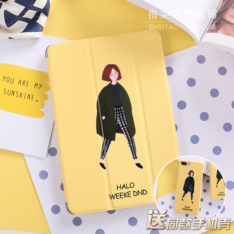 Fahion Yellow Lady Flip Cover For iPad Pro 9.7 Air Air2 Mini 1 2 3 4 Tablet Case Protective Shell for lovers + case for iphone