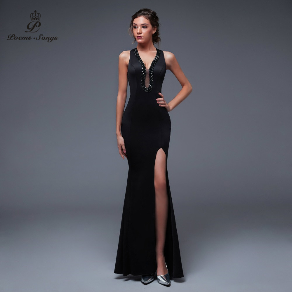 Poems Songs New Sexy Personality Back Evening Prom Gowns Party Dress Vestido De Festa Elegant Vintage Robe Longue