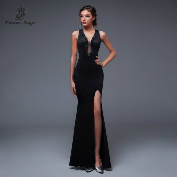 Poems Songs New Sexy Personality Back Evening prom gowns Party dress vestido de festa Elegant Vintage robe longue - discount item  72% OFF Special Occasion Dresses