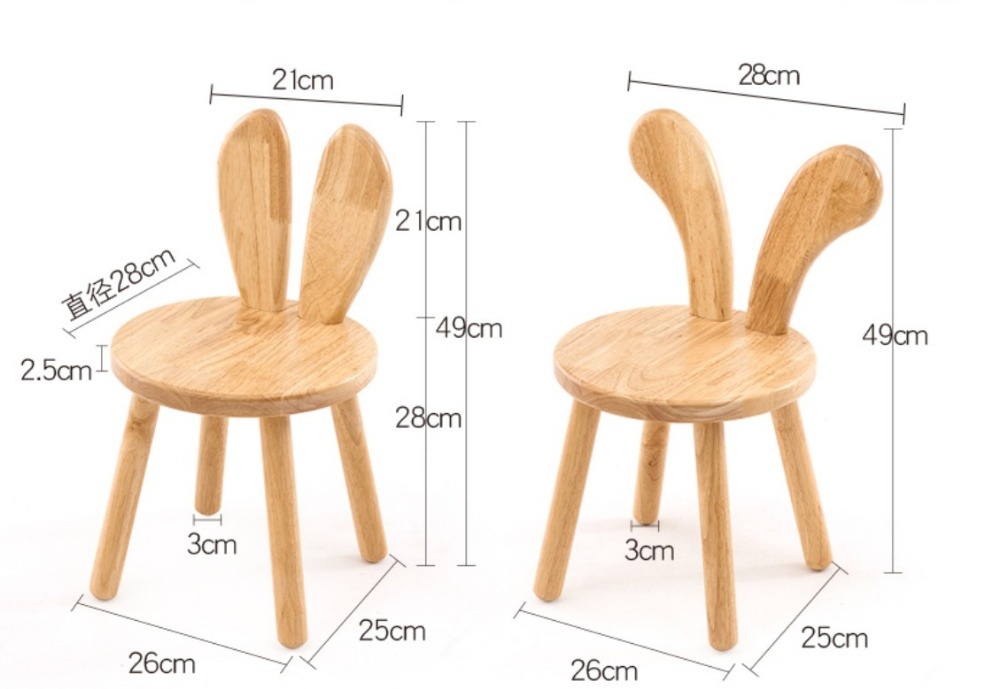 Solid Wood Small Bench Wooden Stool Children Study Chair Baby girl Dining Chair 28*28*49cm kids boys Rabbit Ears Stool C139