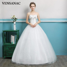 VENSANAC 2018 Sequined Strapless Ball Gown Lace Wedding Dresses Plus Size Crystal Off The Shoulder Backless Bridal Gowns vensanac 2018 crystal sweetheart sequined ball gown wedding dresses short sleeve off the shoulder backless bridal gowns