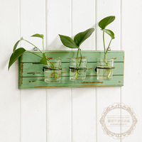 Free Shipping Green Spring Color 3 Glass Flower Pot Vase Vintage Wooden Wall Rack Hydroponic Plants