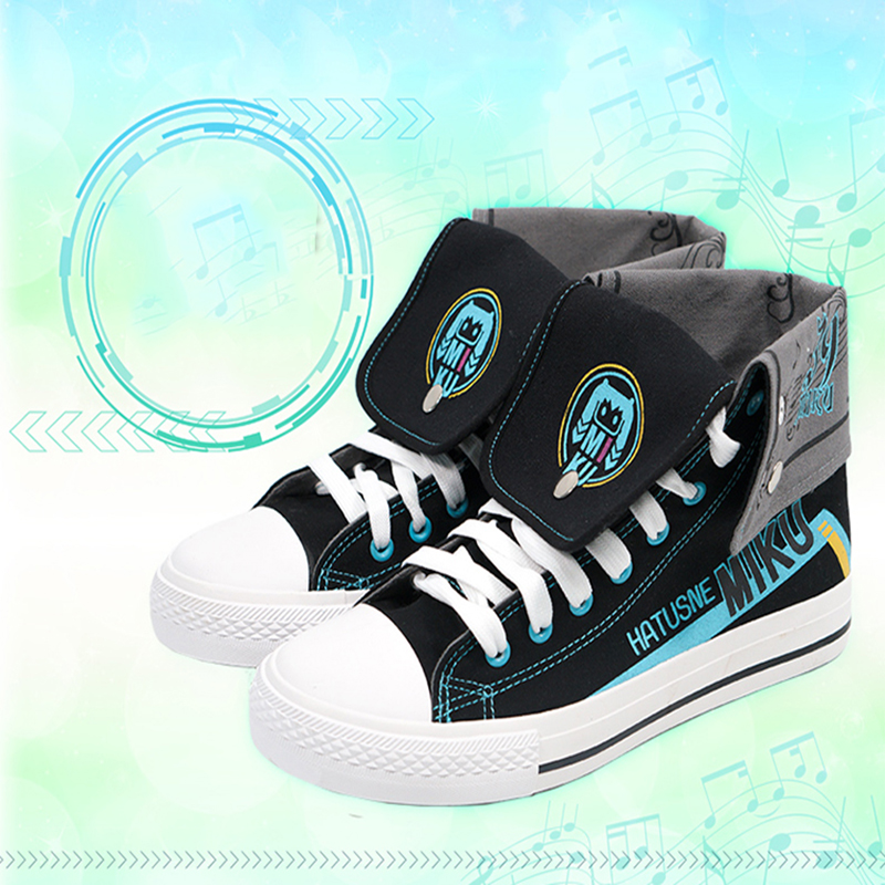 Anime Hatsune Miku Cosplay Shoes Miku Cosplay Canvas Shoes Halloween Carnival Party Daily Leisure Shoes