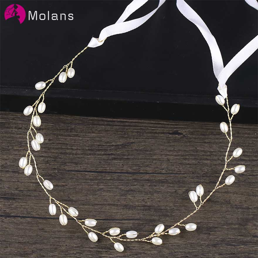 MOLANS European Simple Pearls Headbands For Bridal Wedding Ornaments Handmade Alloy Twisted With Silk Ribbon Headpiece For Party