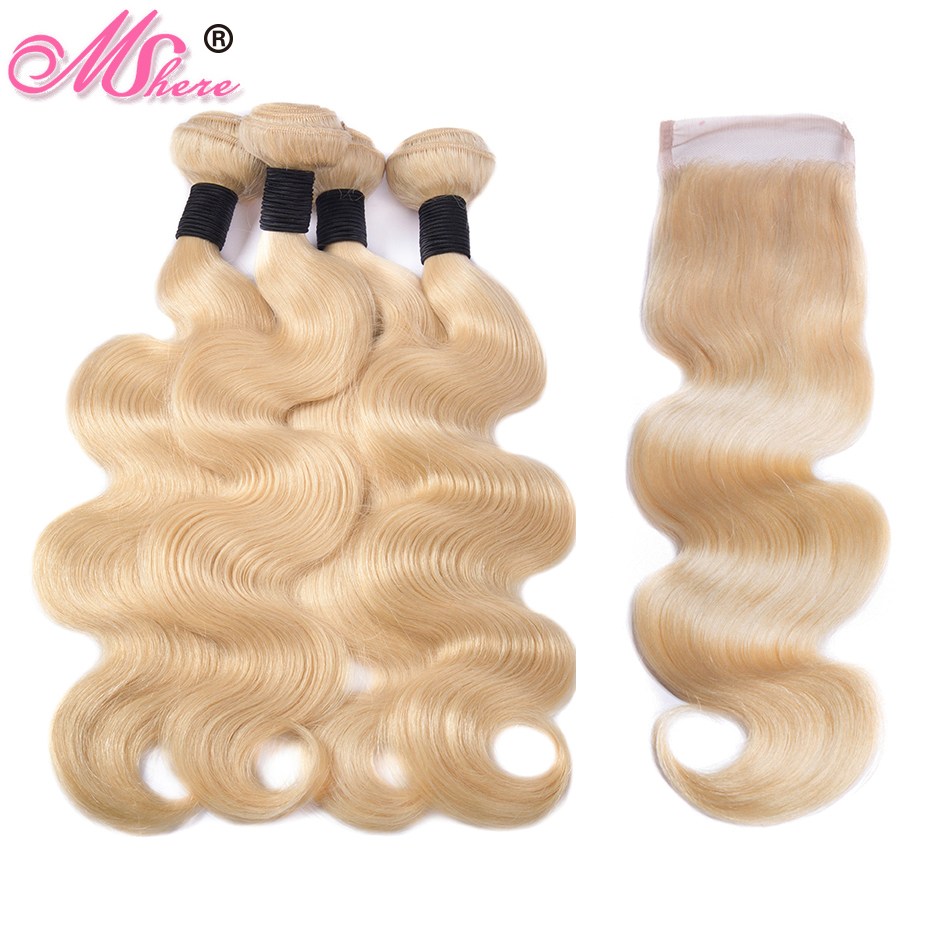 Mshere hair Peruvian Body Wave 613 Blonde Human Hair 3 Bundles With Closure Remy Hair Extension