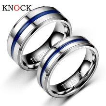 Anel masculino de arco-íris, anel masculino de aço inoxidável preto e azul groove para casamento