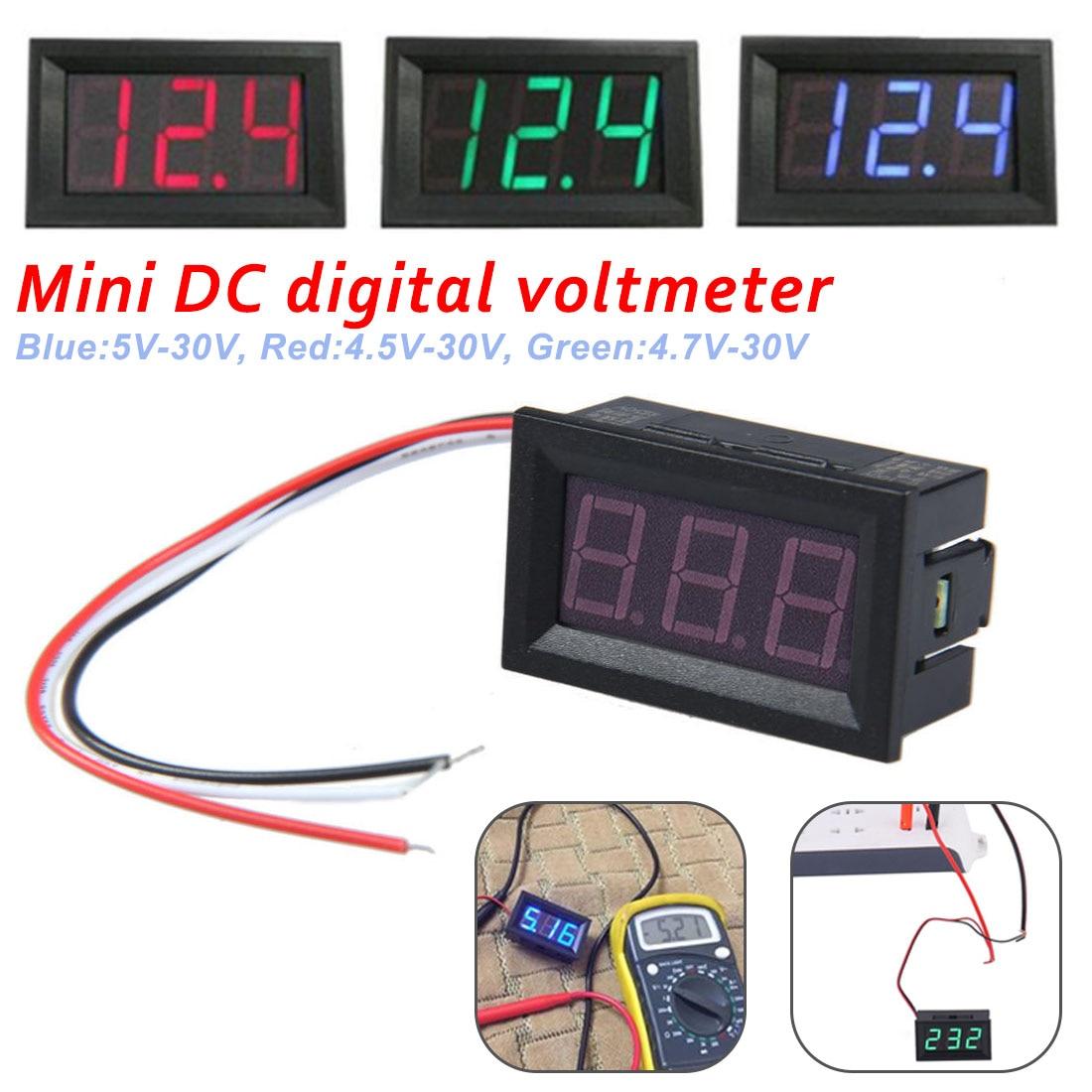 Цифровой мини-вольтметр, амперметр постоянного тока от 4,5 В до 30 в, вольтметр, измеритель тока, красный/синий/зеленый светодиодный дисплей дл...