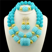 jewelry sets gold color african beads austrian crystal fashion necklace earrings wedding women gift bride girl