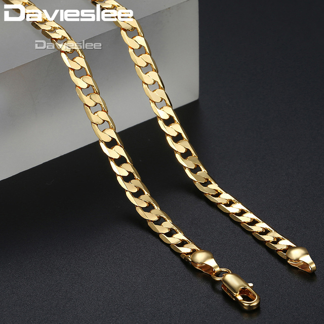 Davieslee Mens Necklace Chain Rose White Gold Filled Curb Chains Cuban Link Hip Hop Necklaces for Men Jewelry 5mm 45-70cm LGNM89