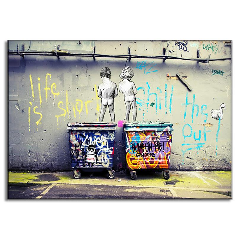 banksy canvas print art life is short chill the duck out wall kids