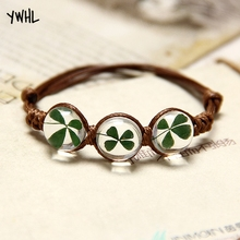 Bohemian hand-woven crystal bracelet four-leaf clover lucky flower natural plant dried womens jewelry