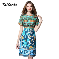 Real Shot Europe America Style Dresses For Women High Grade Jacquard Printing Short Sleeved Fork Bodycon
