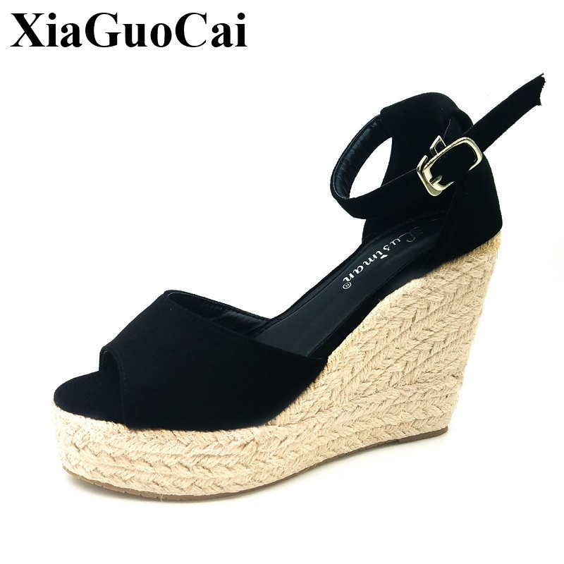 Plus Size Women Sandals Summer Fashion Peep Toe High Heels Platform Ankle Strap Women Casual Shoes Wedges Footwear H101 35 lucyever women casual peep toe shoes thick platform creepers sandals woman fashion wedges high heels stars summer shoes