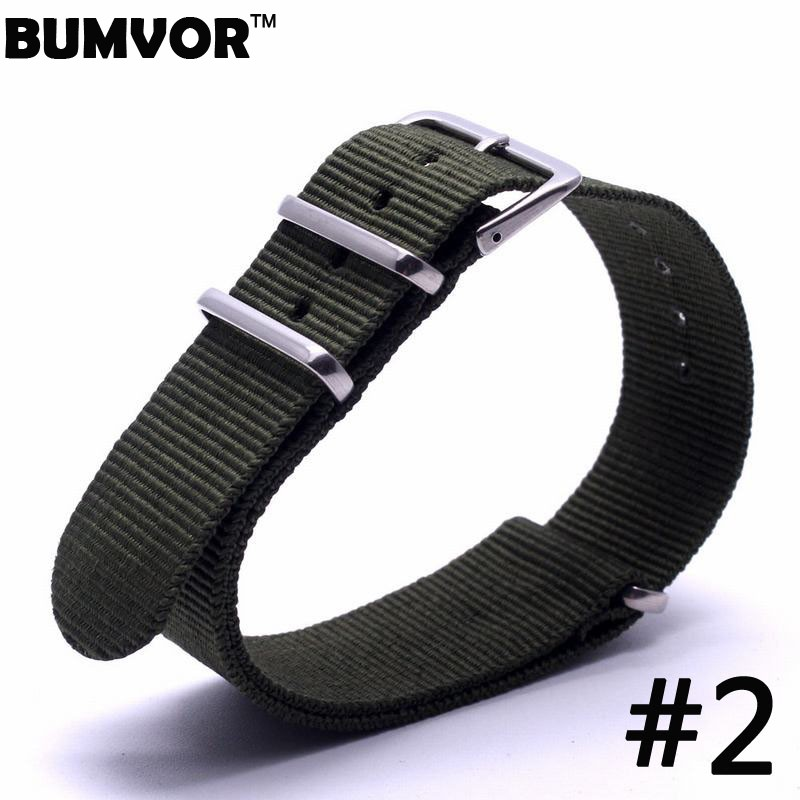 BUMVOR For Nato Nylon Watch Strap Watchbands Stainless steel Buckle Light black Watchband Mens 20mm 2017 zlimsn 5pcs lot nato nylon strap mens watchbands belt silver black watch bands metal buckle watchband relojes hombre 2017 22mm