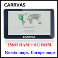 CARRVAS 7 inch HD Car GPS Navigation FM 8GB/256M DDR/800MHZ 2016 Map Free Upgrade Russia/Belarus/Spain/ Europe/USA+Canada