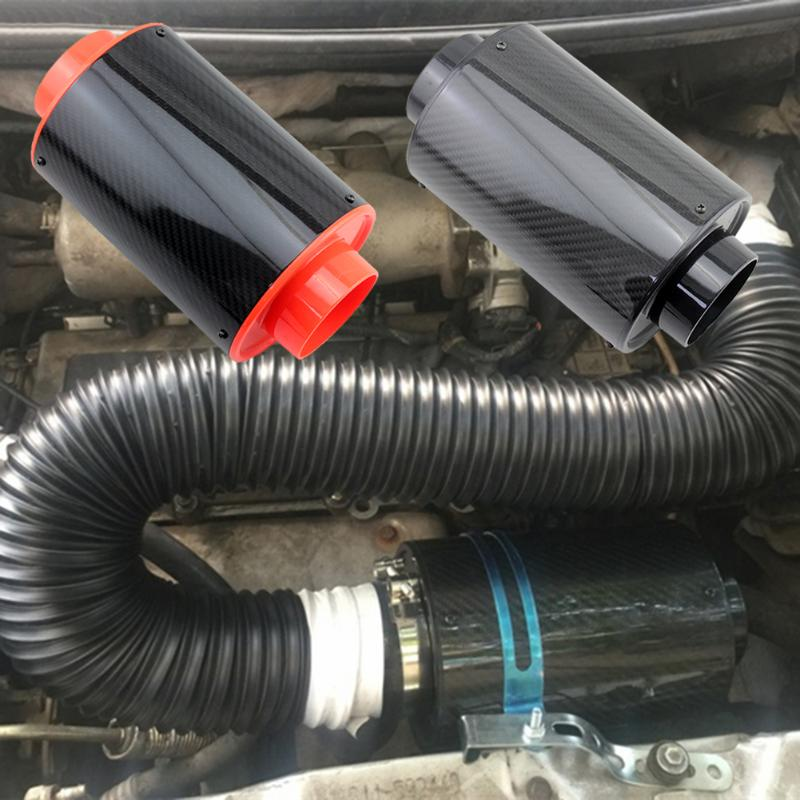 VODOOL Universal Carbon Fiber Car Racing Air Filter Air Intake Engine Cold Feed Induction Kit With Internal Filter Element Tube