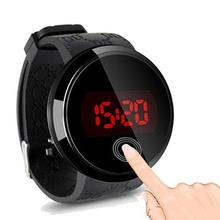 Men Fashion Waterproof LED Round Touch Screen Day Date Silic