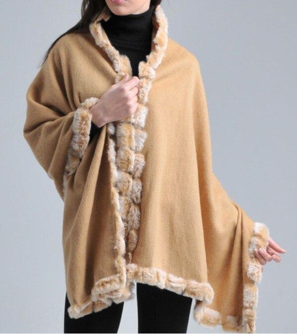 Free Shipping Camel Winter Fashion Women's Wool Cashmere Rabbit Fur Shawl Scarf Thick Warm Wrap SYFur-4