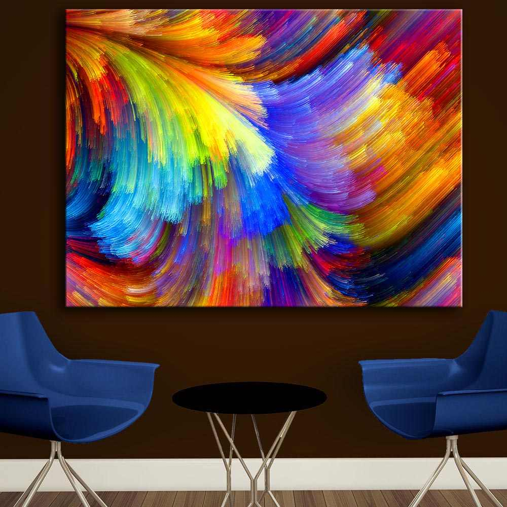 Huge Size the pattern of the color paint a rainbow wall picture wall painting for home decor ideas print on canvas oil painting