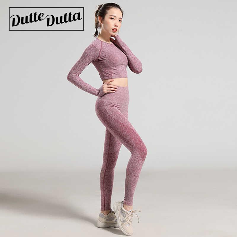 Damska odzież do ćwiczeń oddychające siłownia kobieta Fitness zestawy Stretch sportowe garnitur kobiet z długim rękawem sportu T Shirt spodnie strój do jogi