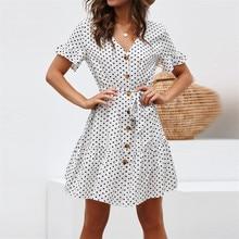 цены 2019 summer new casual sexy V-neck dot print tie button lotus leaf sleeve chiffon ladies dress beach dress