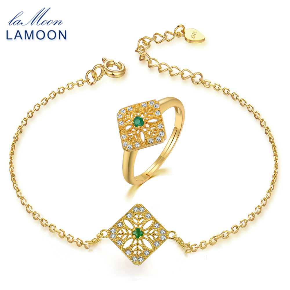 LAMOON Jewelry Sets For Women Vintage S925 Sterling Silver 2mm Natural Emerald Gemstone Square Hollow Fine Jewelry Set V029-7