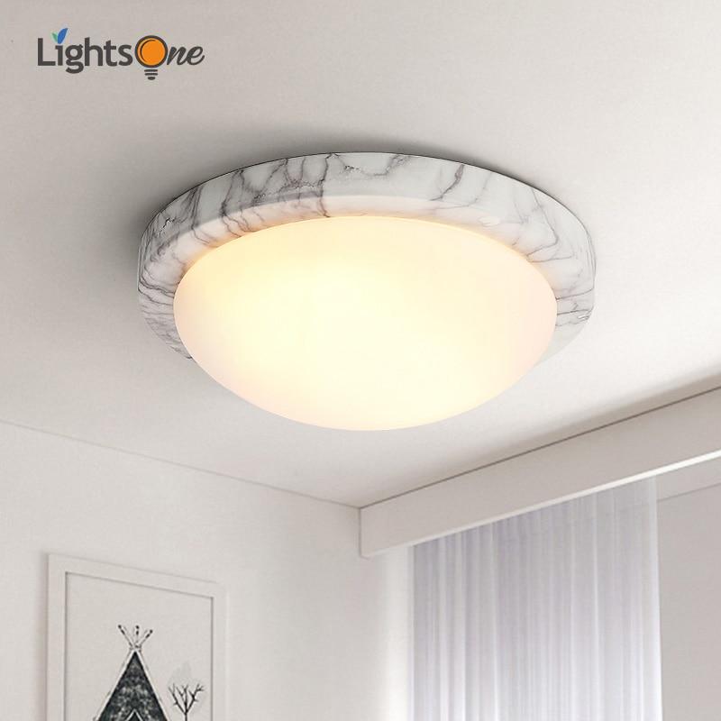 Nordic modern minimalist LED ceiling light balcony corridor aisle round wrought iron imitation marble ceiling lamp