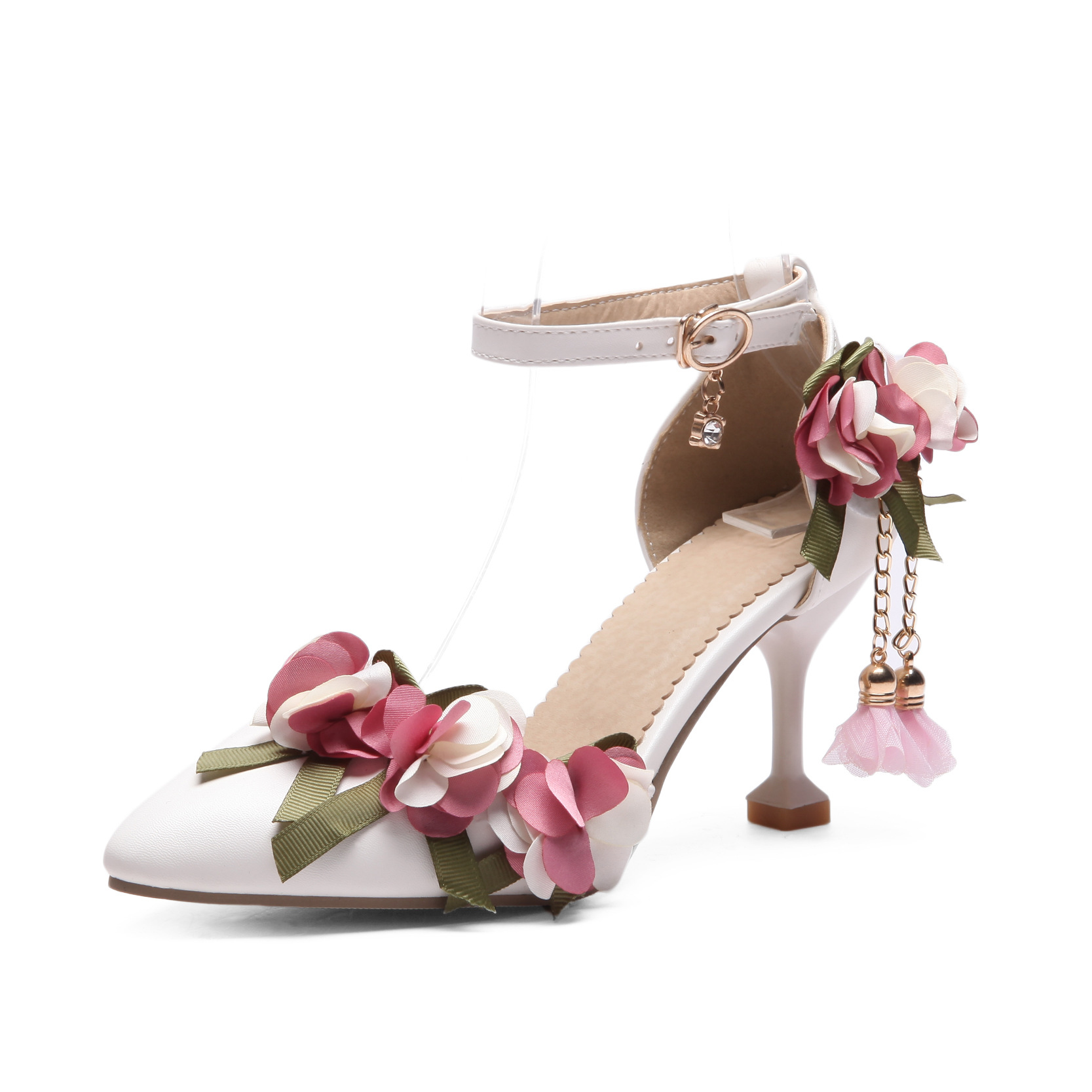 Women Sweet Party Pinkwhite Flower Wedding Pump Shoes 7cm Kitten