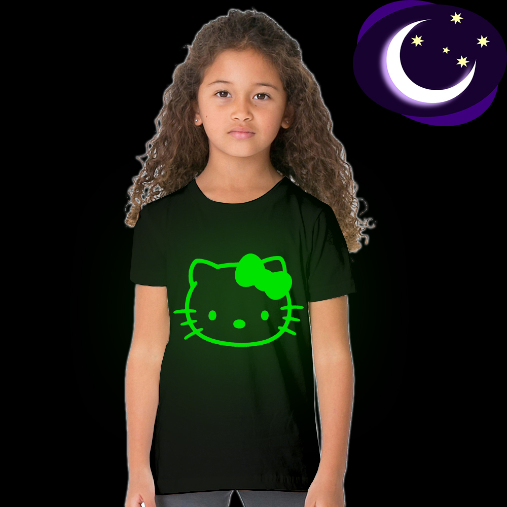 3 4 5 6 7 8 9 10 years children Girl summer short sleeve casual style Luminous Hello Kitty Glow In Dark T Shirt top tee clothes