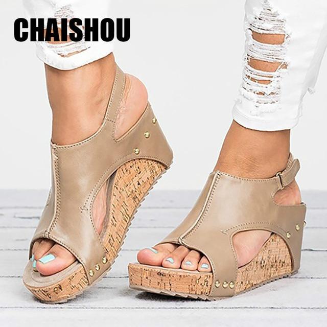 f47e684330 Mulher sapatos Sandálias de Verão 2019 Senhoras Novas Mulheres Sandálias Da  Moda Boca de Peixe Escavar