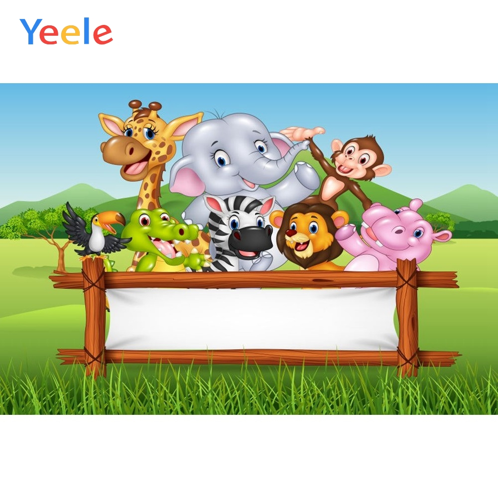 Yeele Vinyl Catoon Animals Zoo Child Birthday Safari Party Photography Background Children Photographic Backdrop Photo Studio