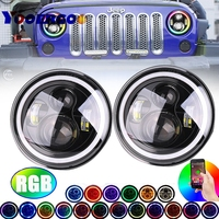 Wrangler JK CJ 7inch RGB DRL Halo Ring Round LED Headlights Angel Eyes with Multicolor Bluetooth Remote Control for Jeep
