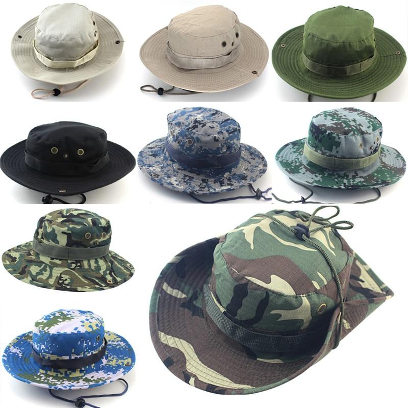 Sun Hats Cap Men Women Camouflage Bucket Hat With String Fisherman Cap  Military Panama Safari Boonie e44444a484d