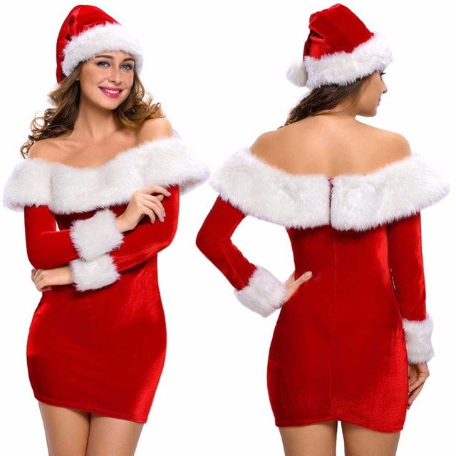 1ae507f244367 US $37.99 |Mrs Santa Claus Costumes Sexy Women Christmas Costume Miss Santa  Role Play Wide Boat Neck Deluxe Plush Fur Trim Dress with Hat-in Holidays  ...