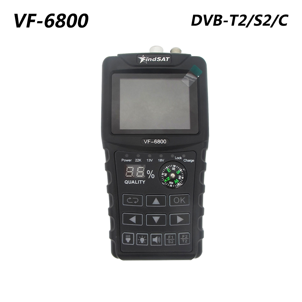 VF-6800 DVB-T2 DVB-S2 DVB-C Satellite Finder 2000mA Battery MPEG4 Sat Finder Meter 2.4 inch LCD DVB-T DVB-S HD Digital Satfinder