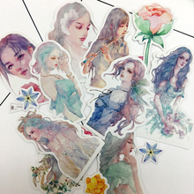 10pcs  Kawaii Japanese Style  Creative Watercolor girls Sticker Self-made flowers  paper Stickers