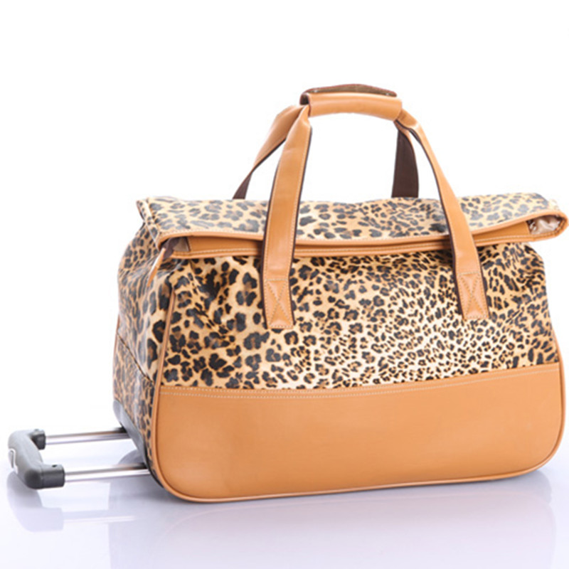 KUNDUI NEW women Girl kids Leopard trolley cases luggage 21 inch wheels Swivel Casters PU travel suitcase bag free shipping