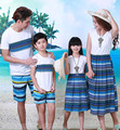 Estilo de bohemia del verano ropa de la ropa de la familia, padre, madre, hija e hijo ropa fijada familia ropa a juego para la playa