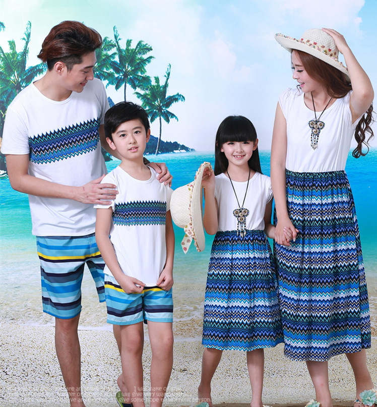 Summer style bohemian clothing family clothes mother father daughter and son clothes set family matching clothes for beach father–daughter incest