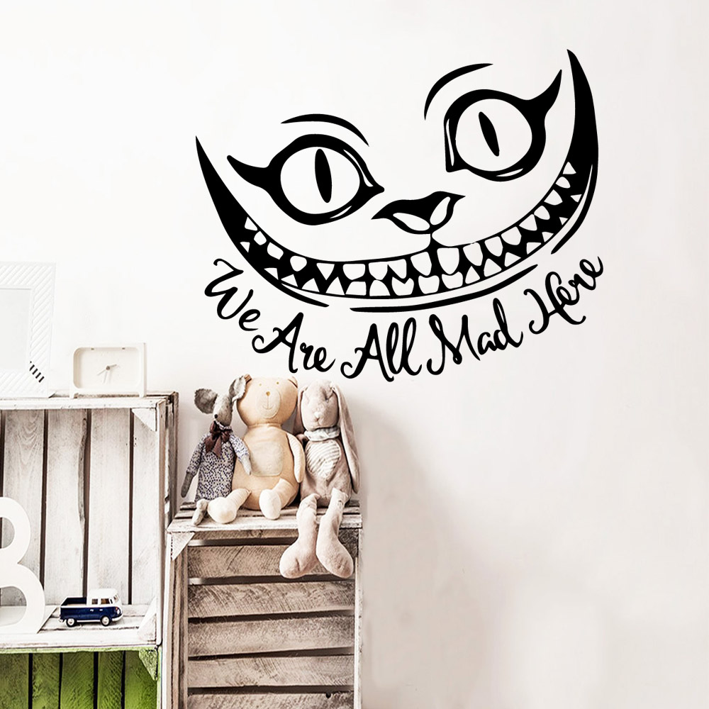 Classic we are all mad here Wallpaper Home Decoration Wall Sticker For Baby Kids Rooms Decor Pvc Decals