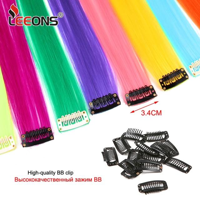 Leeons-extensiones de cabello postizas largas para mujer, postizas largas, resistentes al calor, color arcoíris