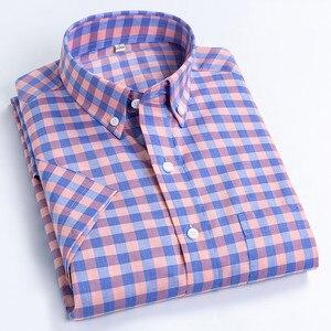 Мужская рубашка с короткими рукавами, модная дизайнерская Свободная рубашка из 100% хлопка в клетку, Классическая однобортная рубашка в клет...